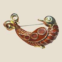 Large Goldtone & Red Enamel Whimsical Bird Pin