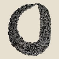 Woven Glass Seed Bead Torsade Necklace in Pewter Gray