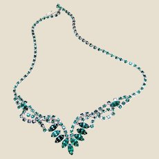 "Green Rhinestone 16"" Festoon Necklace"