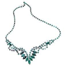 "Green Rhinestone 16"" Festoon Necklace"
