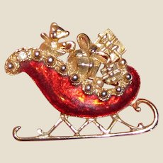 Goldtone & Red Enamel Christmas Sleigh Pin
