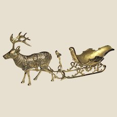 """Vintage Lefton Exclusives Large Brass Reindeer and Sled circa 1986, Made in Taiwan 23"""" Near Mint"""
