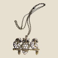 Cool 1970's Three Owl Rhinestone Pendant Necklace