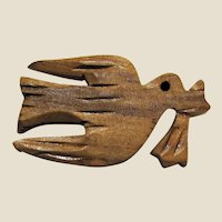 Hand Carved Olive Wood Dove of Peace Christian Pin