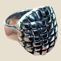 Heavy Brutalist Sterling Ring Sz 6