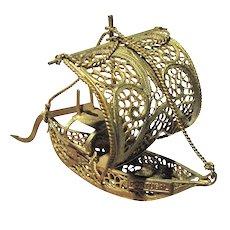 Vintage Miniature Gilt Filigree Ship Sculpture from Portugal