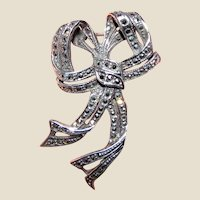 Art Deco Sterling & Marcasite Bow Pin