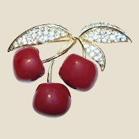 Goldtone Rhinestone Cherry Pin by Joan Rivers