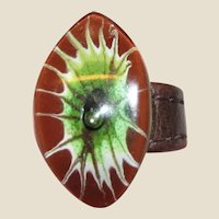 Unusual Art Glass & Leather Ring Size 9