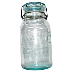 "1880's Aqua Putnam Glass Top Quart Jar ""Trade Mark Lightning"" Raised Print, Wire Bail, VG"