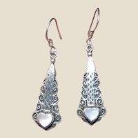 Sterling & Mother of Pearl Filigree Heart Earrings