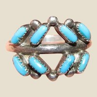 Native American Petite Point Sterling Ring, Size 5.75