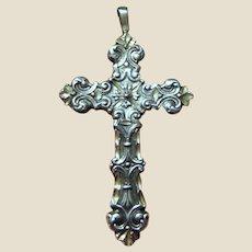 Ornate Victorian Revival Sterling Cross Pendant