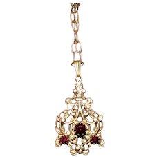 Vintage Victorian Revival Faux Garnet Necklace