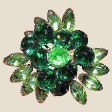 Large Vintage Green Rhinestone Goldtone Pin