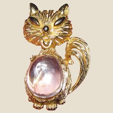 Vintage Goldtone Jelly Belly Cat Pin