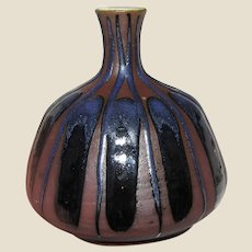 Beautiful Hand Turned Drip Glazed Pottery Small Vase