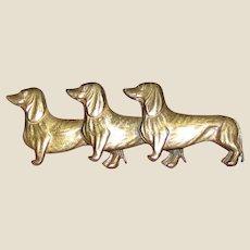 Vintage Triple Dachshund Brass Pin, Charming!