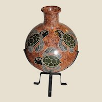 Vintage Pedro Guerrero Hand Crafted Nicaraguan Pottery Signed, with Stand, Mint