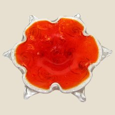 Flower Art Glass Trinket/Ash Tray, Mid Century Hand Blown Murano Glass, Orange, White and Crystal Clear with Red Swirls and Gold Fleck, Mint