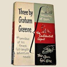 Three by Graham Greene, Published by Viking, New York, 1943 HCDJ Book Club Edition, VG
