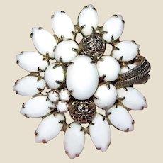 Vintage Alice Caviness Mid Century Pin - Goldtone w/ White Art Glass