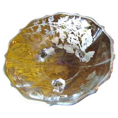 Pretty Sterling Silver Overlay Footed Bowl, Clear Glass