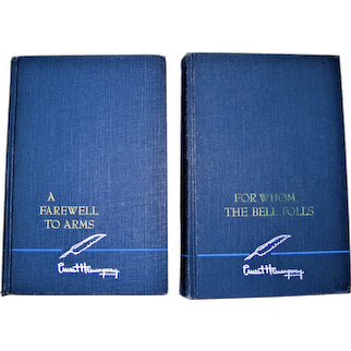 1940/1957 For Whom the Bell Tolls & A Farewell to Arms  by Ernest Hemingway, Blue HC Scribner's, VG+ Unread