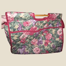 Capacious Sewing, Knitting, Craft Quilted Floral Tote Bag