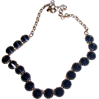 Elegant J. Crew Goldtone & Black Bib Necklace