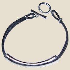 Hand Made Signed Sterling & Leather Thong Bracelet