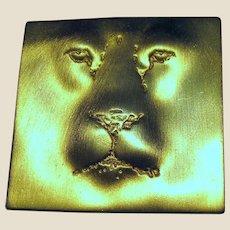 JJ Jonette Jewelry Gold Tone Lion Face Pin