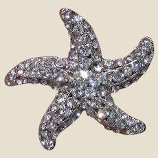 Stunning Vintage Rhinestone Starfish Pin