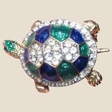 Charming Rhinestone & Enamel Petite Turtle Pin
