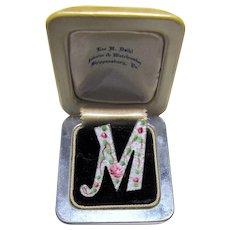 Vintage Floral Guilloche Enamel Initial M Pin