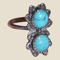"""Vintage Native American Sterling & Turquoise Ring Sz 6 3/4"""""""