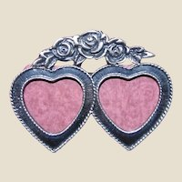Charming Pewter Double Heart Photo Frame Pin