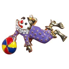 Humorous Enamel & Rhinestone Articulated Clown Pin