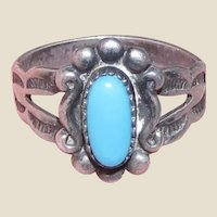 Ornate Native American Sz 3.5 Sterling & Turquoise Ring, Perfect for Pinkies!