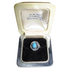 Mexican Sterling & Turquoise Ring Signed GFIS Sz 6.5