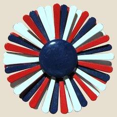 1960's Patriotic Red White & Blue Enamel Flower Pin