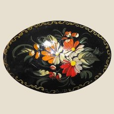 Signed Hand Painted Russian Pin, Red & Peach Flowers on Black