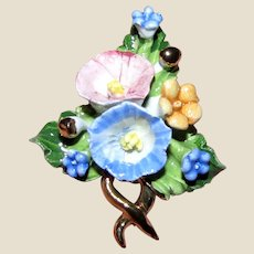 Vintage Capodimonte Porcelain Flower Pin w/ Certificate