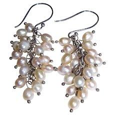 Sterling & Freshwater Pearl Festoon Earrings, Pretty!