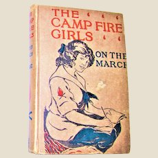 The Camp Fire Girls – On The March vol. V by Jane L. Stewart, Hardcover c.1914 Saalfield HC, VG+