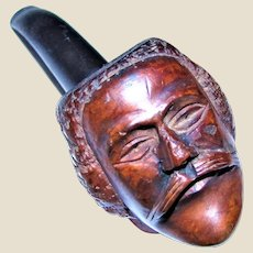 Vintage Briarwood Hand Carved face Pipe, Man with a mustache and a fine head of hair. Made in Italy, Rare