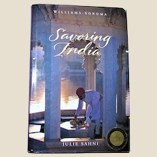 Savoring India: Recipes and Reflections on Indian Cooking by Julie Sahni, HCDJ 1st Edition 2nd Printing, VG+