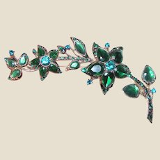 "4"" Green Rhinestone Floral Spray Pin by Monet"