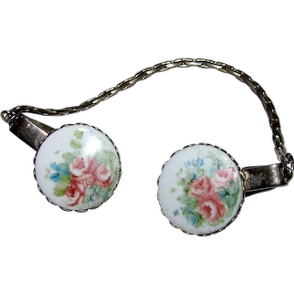 Hand Painted Flower Design Vintage Sweater Guard Clips