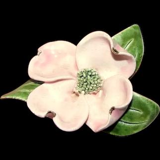 Lovely Hand Made Vintage Ceramic Dogwood Blossom Pin
